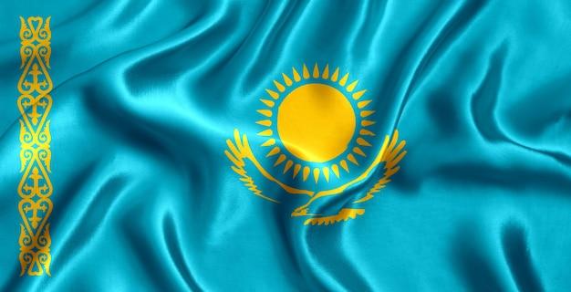 Флаг казахстана шелк крупным планом фон
