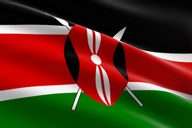 Флаг кении. 3d иллюстрации развевающийся кенийский флаг