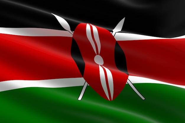 Флаг кении. 3d иллюстрации развевающийся флаг кении.