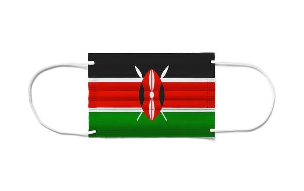 Флаг кении на одноразовой хирургической маске.