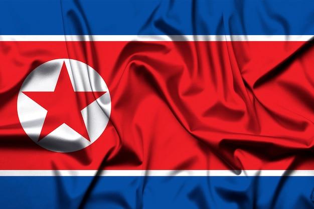 배경으로 조선 민주 공화국의 국기