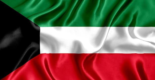 Флаг кувейта шелк крупным планом фон