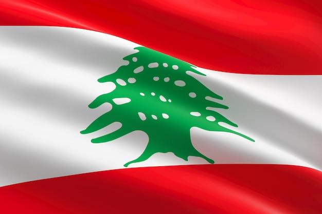 Флаг ливана. 3d иллюстрации развевающийся ливанский флаг