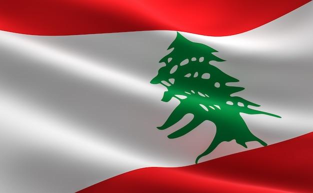 레바논의 국기입니다. 레바논 깃발을 흔들며의 3d 일러스트입니다.