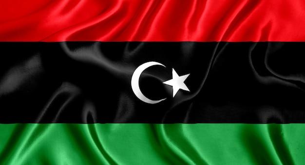 リビアの国旗のシルクのクローズアップの背景