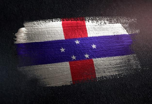 オランダ領アンティル諸島の旗flag of metallic brush paint on grunge dark wall
