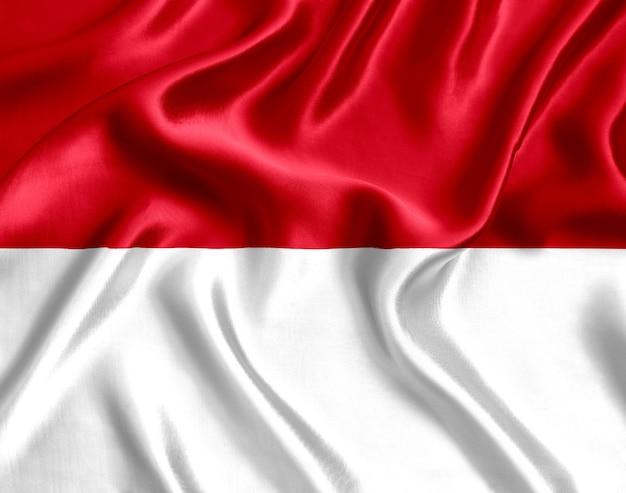 モナコの国旗のシルクのクローズアップ
