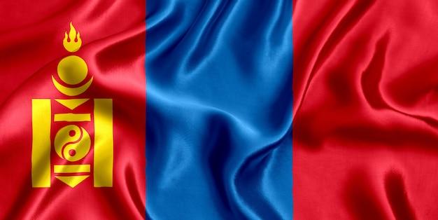モンゴルの国旗のシルクのクローズアップ