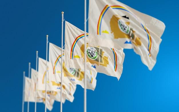 Флаг индейцев индейцев навахо, развевающийся в небе