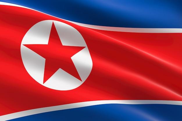 북한의 국기. 한국 국기를 흔들며의 3d 일러스트