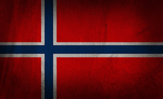 暗いテクスチャ背景にノルウェーの旗