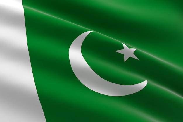 パキスタンの旗。手を振っているパキスタンの旗の3dイラスト
