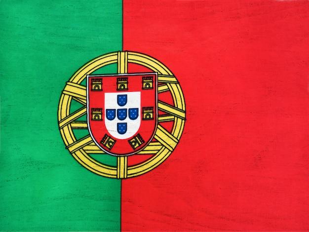 ポルトガルの旗。クローズアップ、上からの眺め。国民の祝日のコンセプトです。