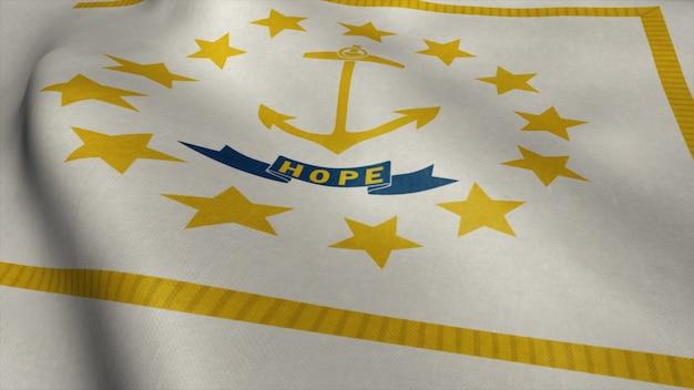 ロードアイランド州旗を風になびかせて