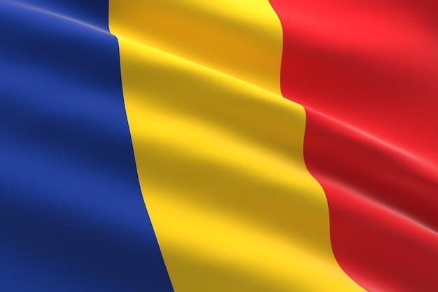 루마니아의 국기. 루마니아 깃발을 흔들며의 3d 일러스트