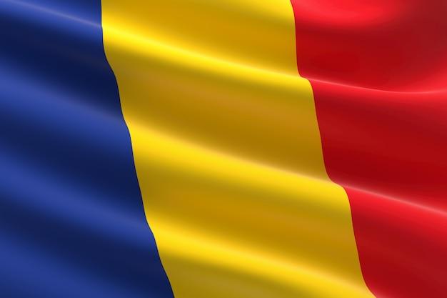 루마니아의 국기입니다. 흔들며 루마니아 국기의 3d 그림입니다.