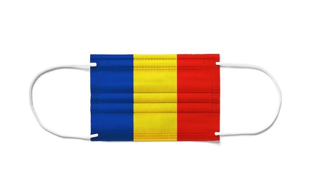 Флаг румынии на одноразовой хирургической маске