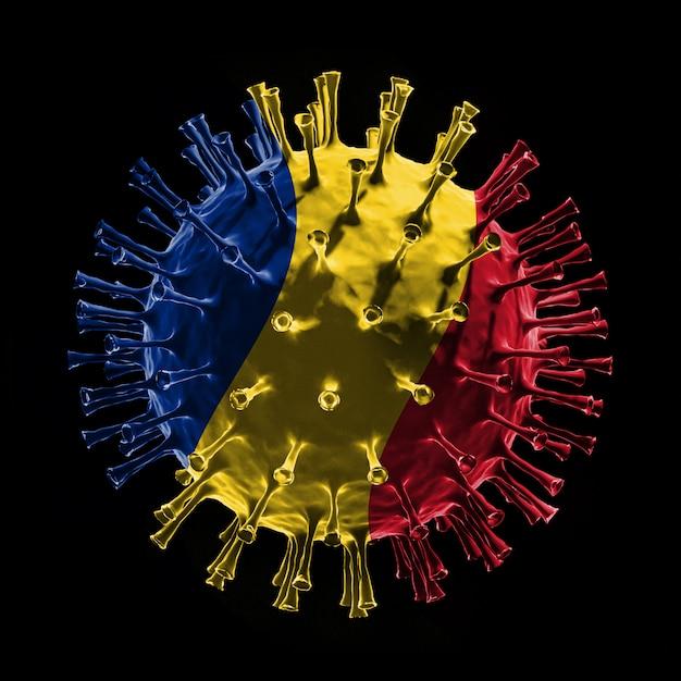 Флаг румынии на covid-19 - вирусная концепция. 3d рендеринг