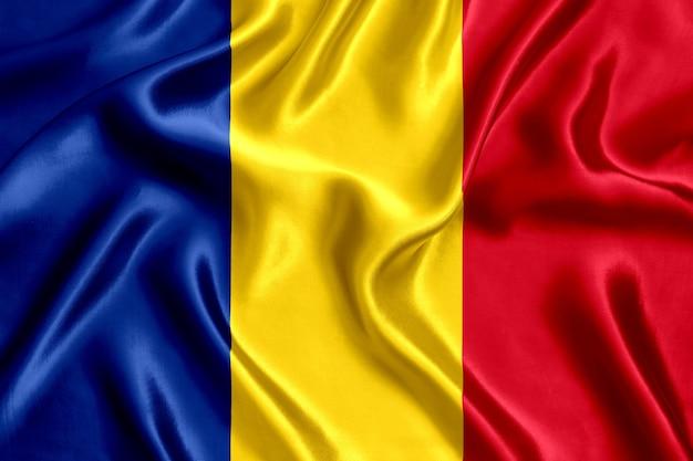 Флаг румынии шелк крупным планом
