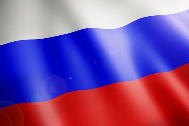 바람에 물결 치는 러시아의 국기