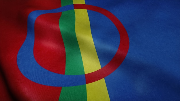 Флаг саамской скандинавии развевается на ветру.