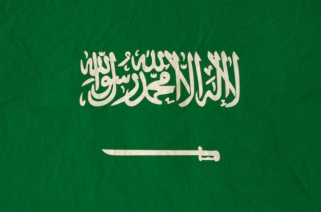 빈티지 오래 된 종이 질감으로 사우디 아라비아의 국기