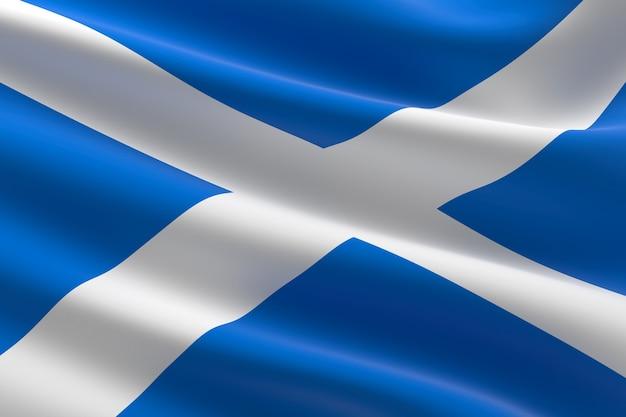 Флаг шотландии. иллюстрация 3d развевания шотландского флага.