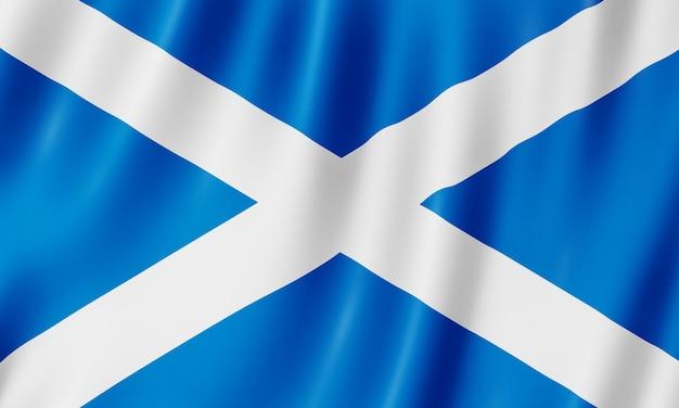 스코틀랜드의 국기입니다. 스코틀랜드 깃발을 흔들며의 그림입니다.