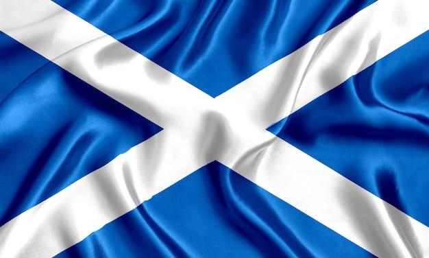 Флаг шотландии шелк крупным планом