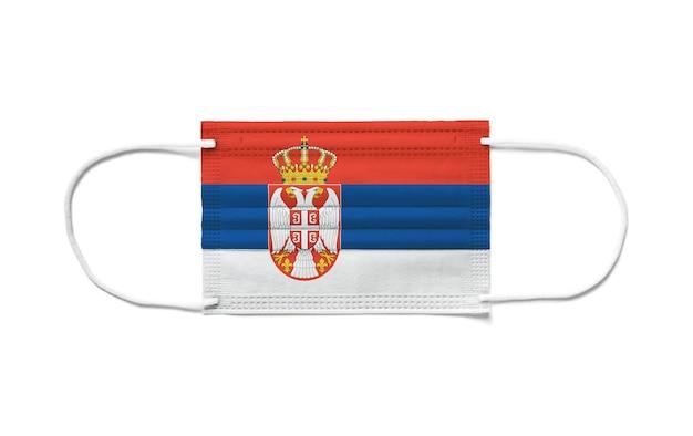 Флаг сербии на одноразовой хирургической маске