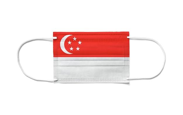 Флаг сингапура на одноразовой хирургической маске