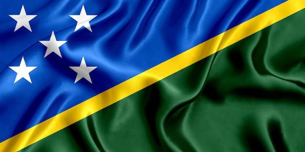 Флаг соломоновых островов шелк крупным планом