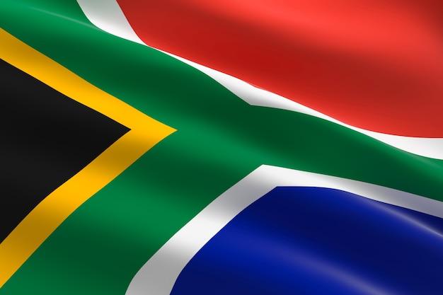 남아프리카 공화국의 국기. 남아 프리 카 공화국 깃발을 흔들며의 3d 일러스트