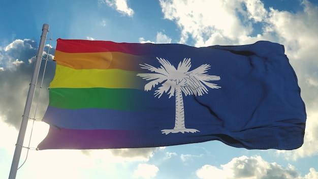Флаг южной каролины и лгбт. южная каролина и смешанный флаг лгбт развеваются на ветру. 3d рендеринг