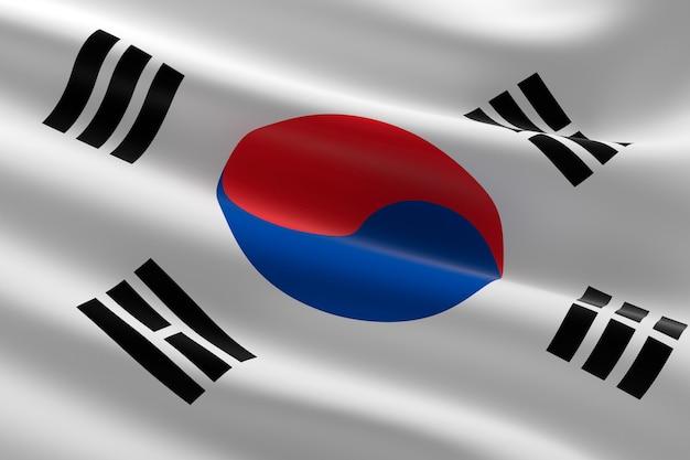 韓国の旗。手を振っている韓国の旗の3dイラスト。