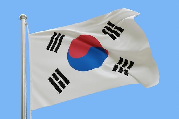 파란색 배경에 고립 된 바람에 물결 치는 깃대에 대한민국의 국기
