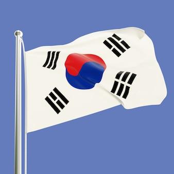 青空の背景に分離された風に手を振る旗竿に韓国の旗