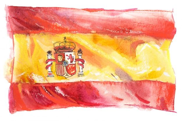 水彩で描かれたスペインの旗