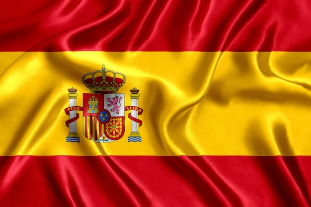 Флаг испании шелк крупным планом