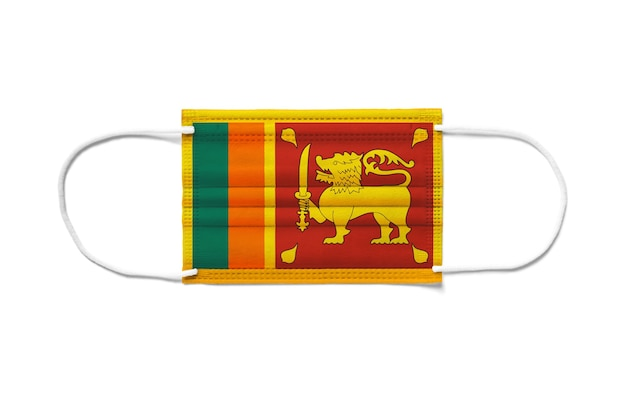 Флаг шри-ланки на одноразовой хирургической маске