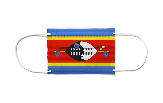 Флаг свазиленда на одноразовой хирургической маске
