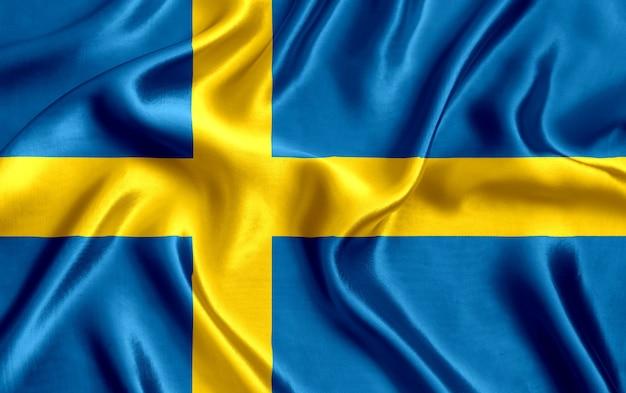 スウェーデンの国旗のシルクのクローズアップ