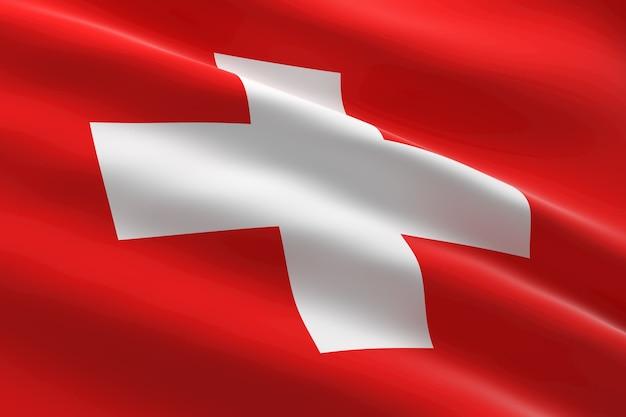 스위스의 국기. 스위스 국기를 흔들며의 3d 일러스트