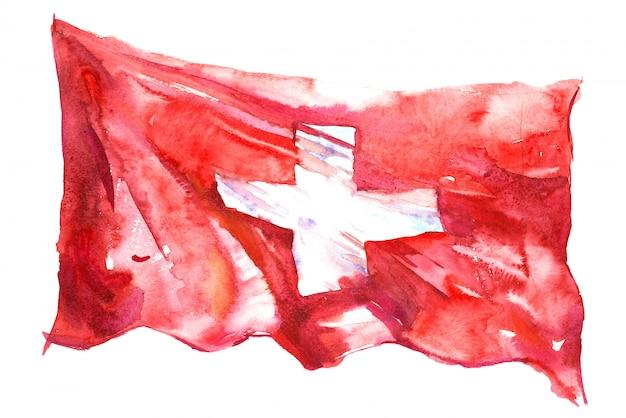 水彩で描かれたスイスの旗