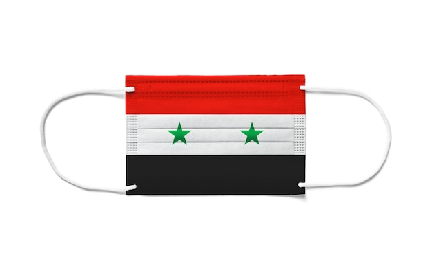 Флаг сирии на одноразовой хирургической маске