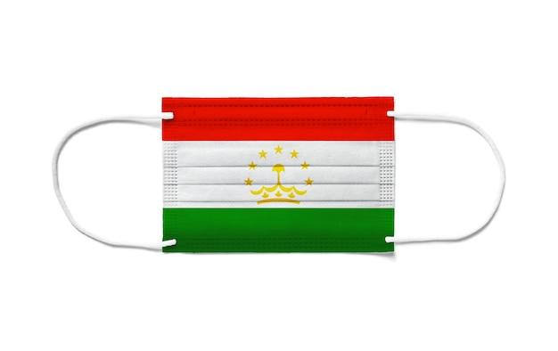 Флаг таджикистана на одноразовой хирургической маске