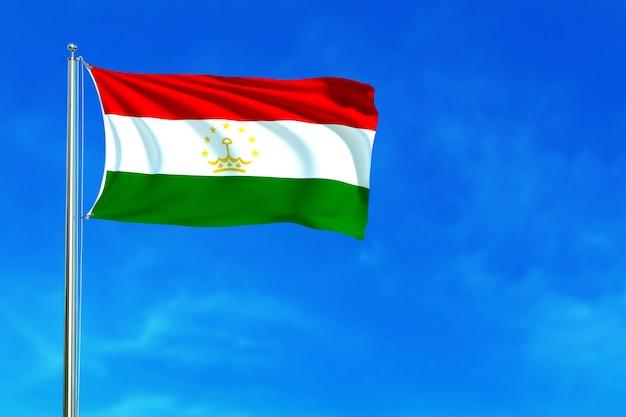 푸른 하늘 배경 3d 렌더링에 타지키스탄의 국기