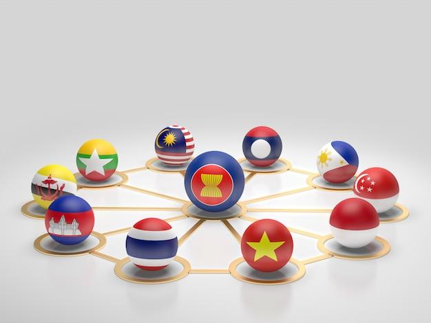 Asean諸国の旗。3dレンダリング。