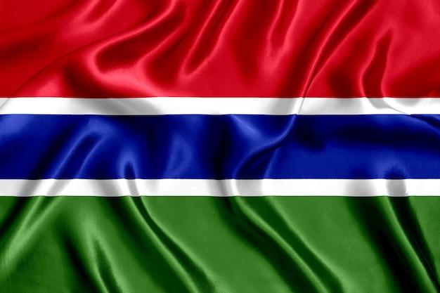 감비아 실크 클로즈업 배경의 국기