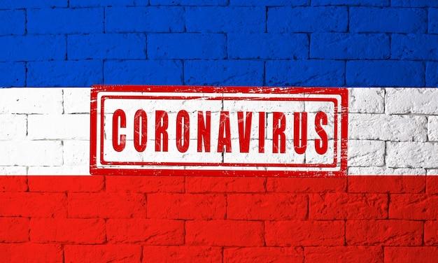 元の比率でドイツシュレスヴィヒホルシュタイン州の地域の旗。コロナウイルスの刻印。レンガの壁のテクスチャ。コロナウイルスの概念。 covid-19または2019-ncovパンデミックの危機に瀕しています。